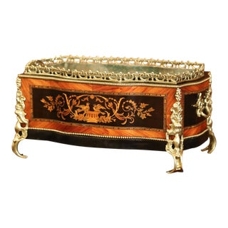 19th Century French Napoleon III Rosewood Planter With Marquetry & Bronze Decor For Sale