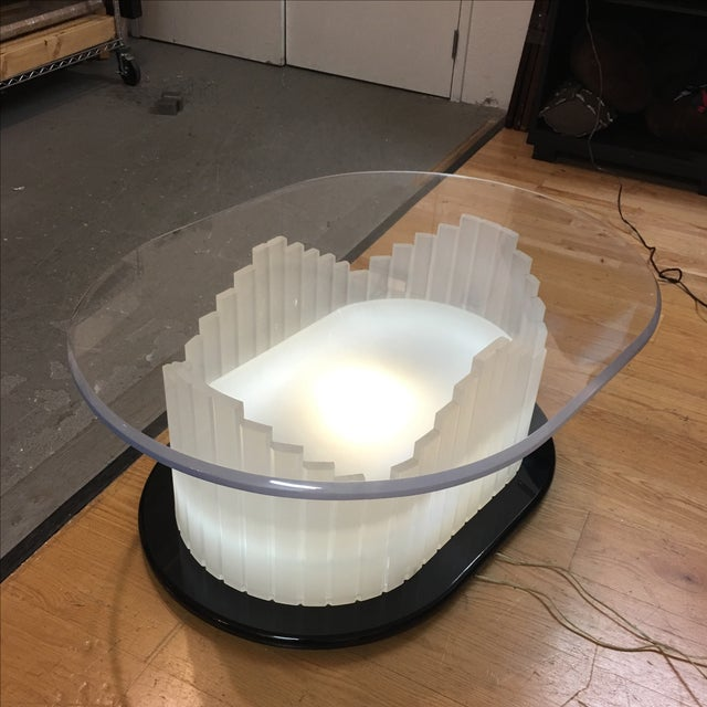 Vintage Art Deco Lucite Lighted Base Coffee Table For Sale - Image 4 of 10