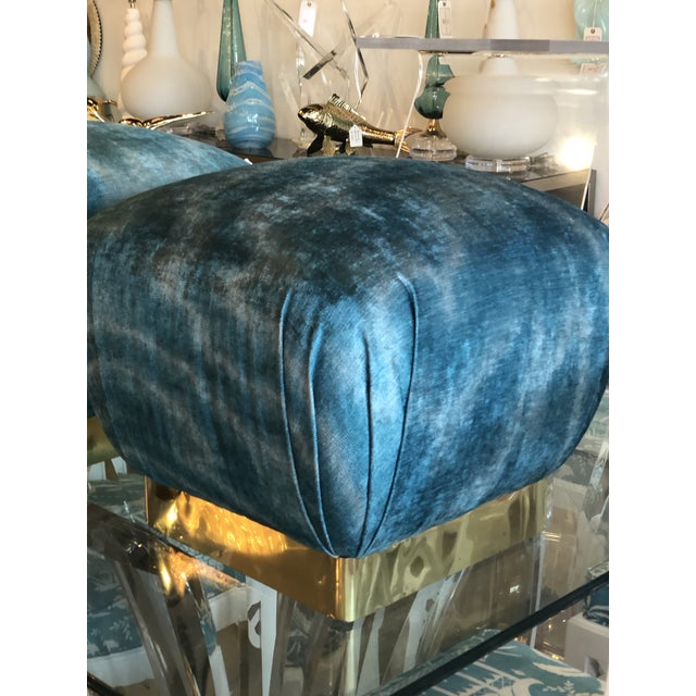 Vintage Hollywood Regency Aqua Velvet & Brass Poufs Ottomans Benches -A Pair For Sale - Image 12 of 13