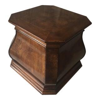 Vintage Henredon Burled Walnut Pedestal/Side Table For Sale