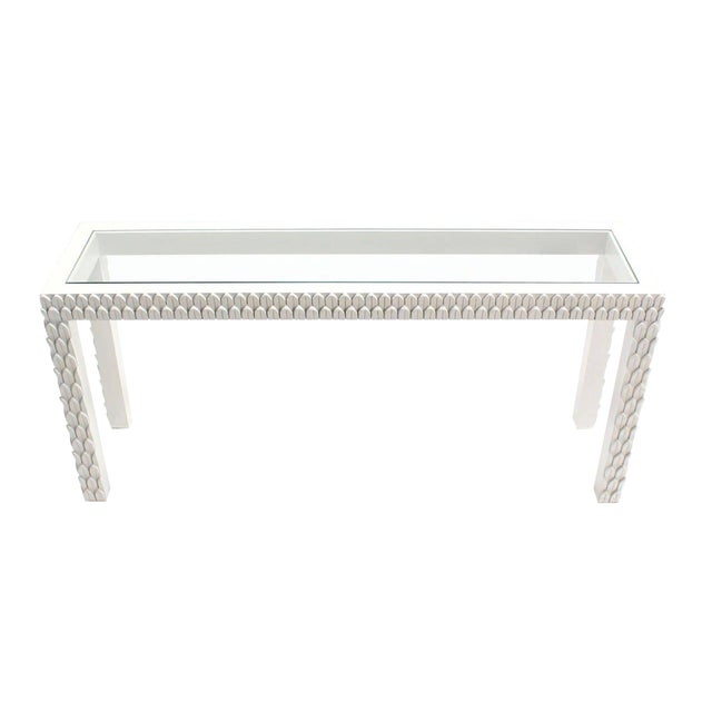 Vintage Mid Century Pineapple Pattern Carved White Lacquer Console Table For Sale - Image 10 of 10