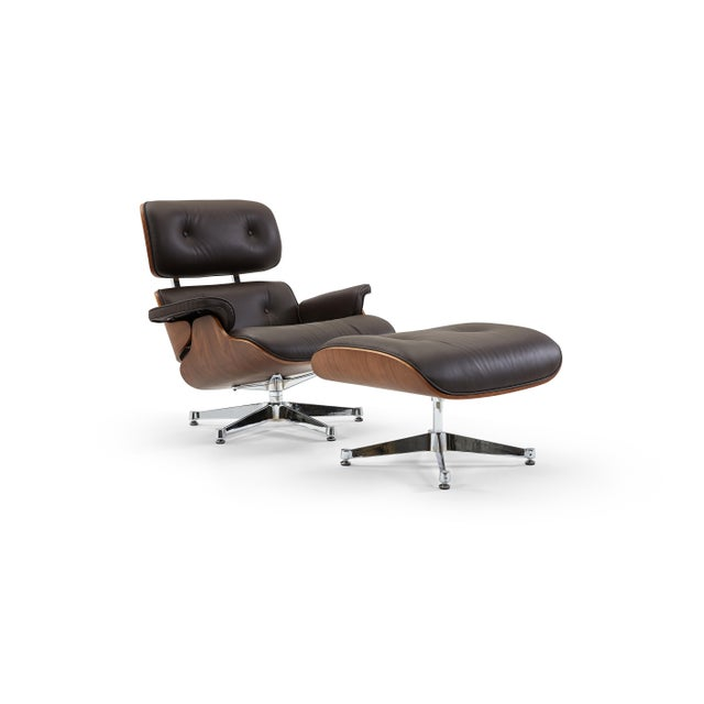 Brown Pasargad's Florence Brown Leather Lounge Chair & Ottoman For Sale - Image 8 of 9
