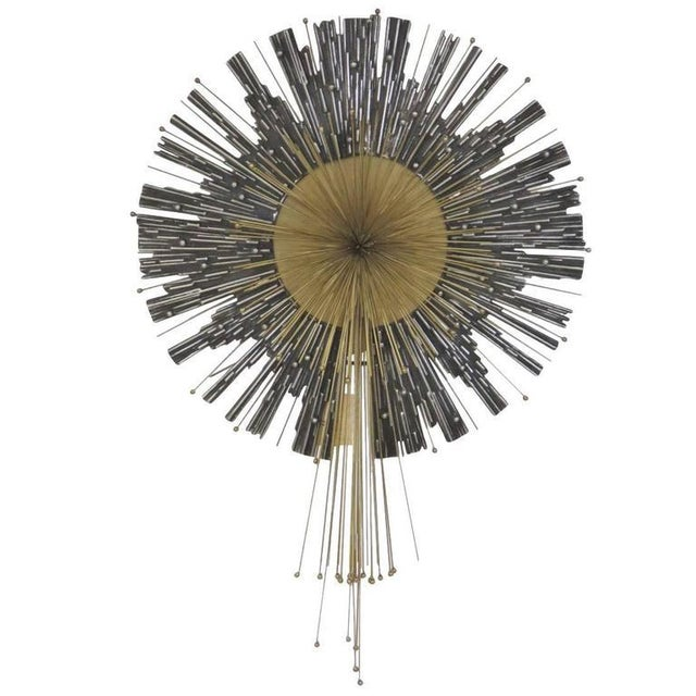 Late 20th Century Late 20th Century Vintage Curtis Jere Aluminum & Brass Wall Hanging Starburst For Sale - Image 5 of 5