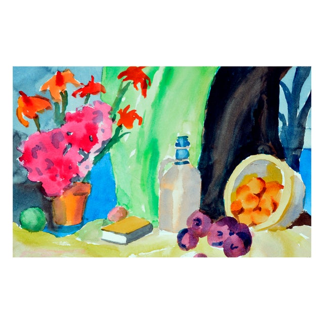Expressionism Fruit & Jug Still Life Painting For Sale - Image 3 of 4