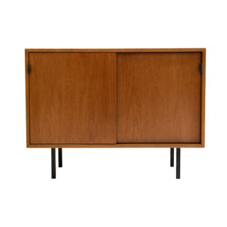 1960s Mid-Century Modern Knoll Small Sliding Door Cabinet For Sale