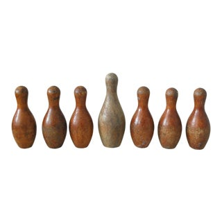 Vintage Miniature Bowling Pins - Set of 7 For Sale