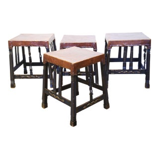 """Set of 4 """"Chokwe"""" African Stools, in Sculpted Wood and Parchment"""