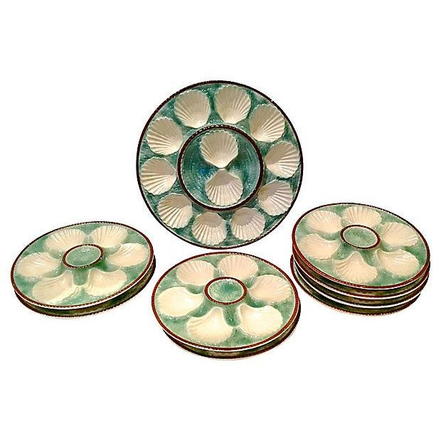 Antique Majolica Oyster Platters - Set of 8 For Sale In Atlanta - Image 6 of 6