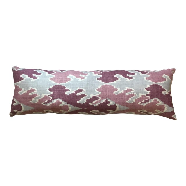 Purple & Gray Linen Ikat Pillow - Image 1 of 7