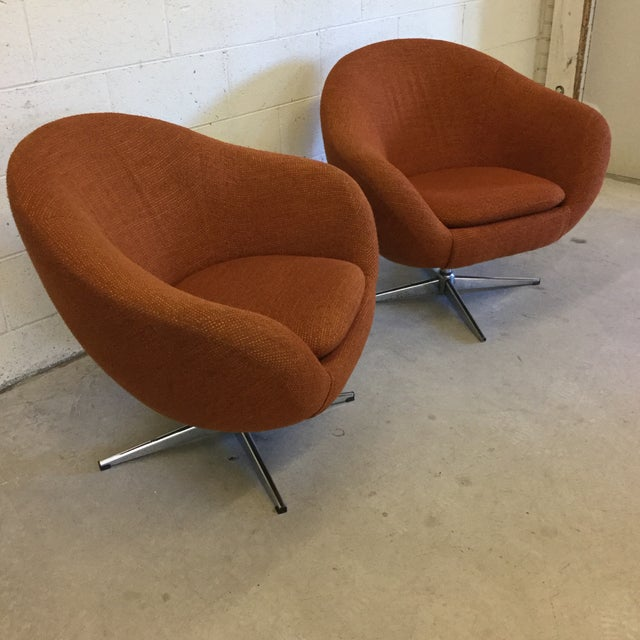 Industrial Mid Century Orange Upholster Barrel Swivel Chairs by Burris Industries For Sale - Image 3 of 11