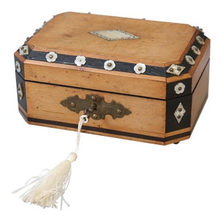 French Satin Wood & Mother of Pearl Box, Lock & Key For Sale