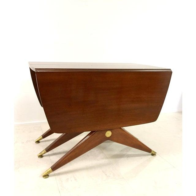 Gio Ponti Attr. Brass & Walnut Dining Table - Image 3 of 11