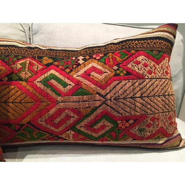 Vintage Handwoven Embroidered Pillows Northern Laos - A Pair For Sale In New York - Image 6 of 9