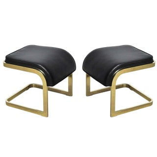 Brass and Leather Stools by Dia- A Pair For Sale