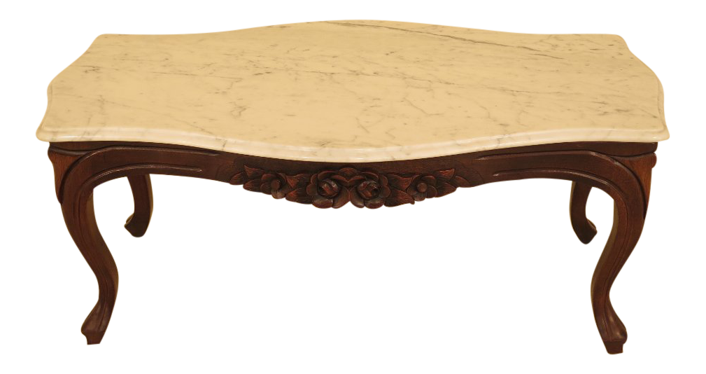 Superieur Victorian Style Marble Top Coffee Table With Mahogany Base