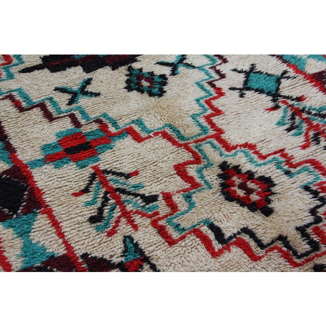 "Red & Turquoise Moroccan Rug - 8'6"" X 3'8"" - Image 4 of 5"