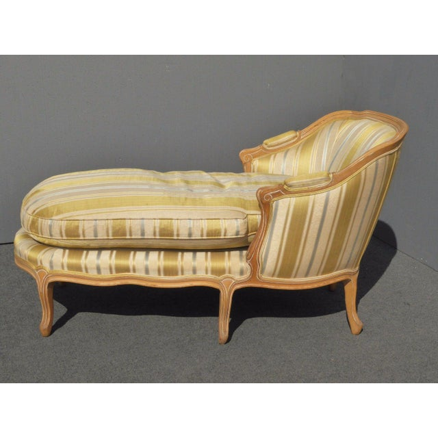 French Provincial Vintage Baker French Provincial Gold Chaise Lounge Goose Down Cushion For Sale - Image 3 of 11