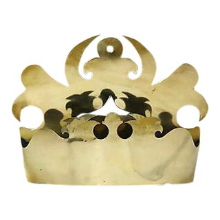 Antique Brass Crown Wall Pocket