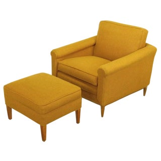 Rolled Arm Amber Wool Lounge Chair & Ottoman For Sale