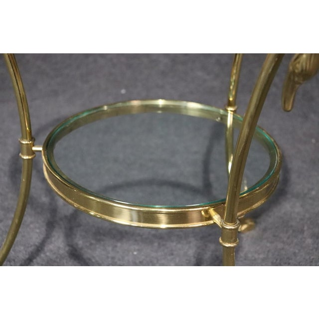 Gold Regency Style Glass Top Brass Gueridons - a Pair For Sale - Image 8 of 11