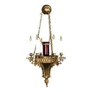 19th Century Gothic Bronze Chandelier For Sale