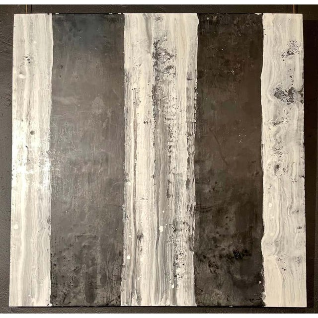 "Lynn Basa Encaustic Black and White Stripe Panel ""Camino"", 2018 For Sale - Image 4 of 11"