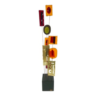 1967 Curtis Jere Kinetic Colored Resin and Brass Sculpture on Wood Base For Sale