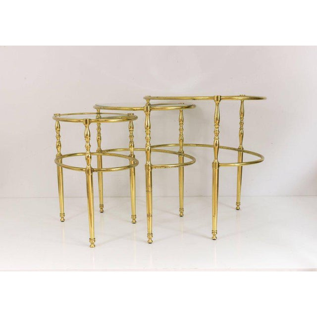 Interesting Oval Brass Nesting Tables, Circa 1940 - Image 7 of 8