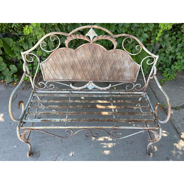 Metal French Antique Wrought Iron Outdoor Folding Bench For Sale - Image 7 of 12