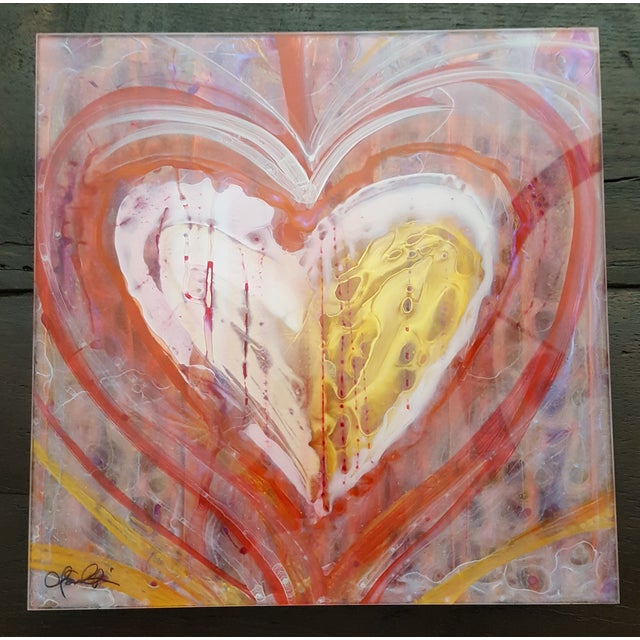 Christopher Martin Heart Paintings - Set of 4 - Image 4 of 10