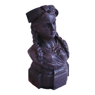 French Antique 19th Century Cast Iron Female Bust