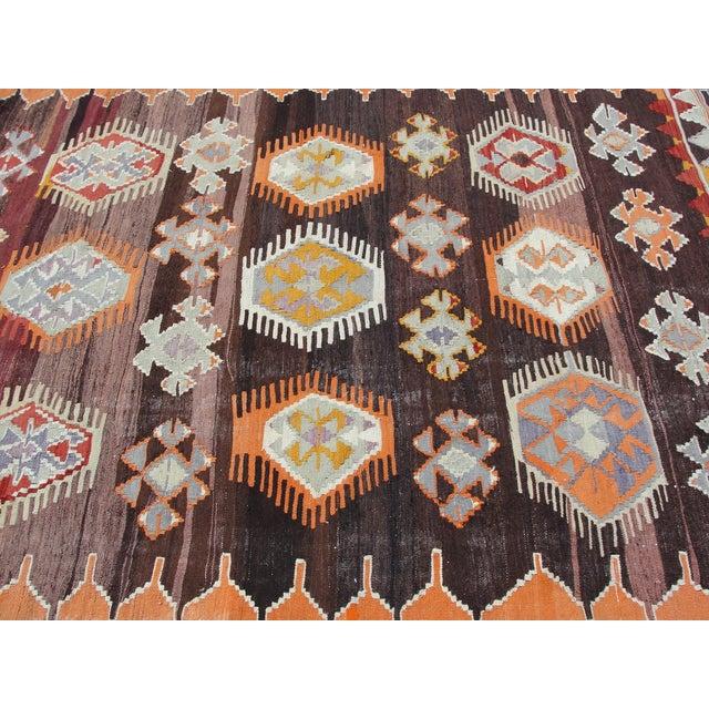 Brown Vintage Turkish Kilim Rug - 5′6″ × 8′7″ For Sale - Image 8 of 11