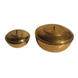 Glam Brass Dresser Boxes - A Pair