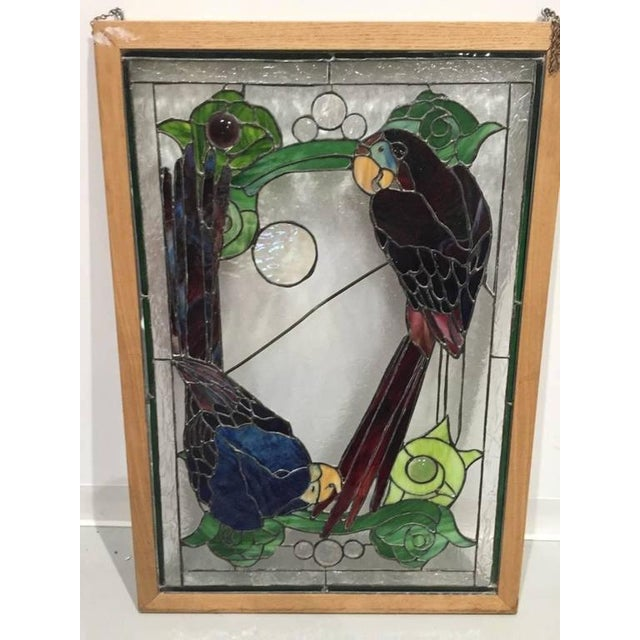 Stained Glass of Two Parrots in Wood Frame For Sale - Image 10 of 10