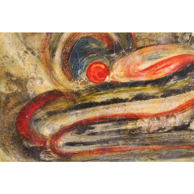 Mid-Century Modern Abstract Oil Painting - Image 6 of 9