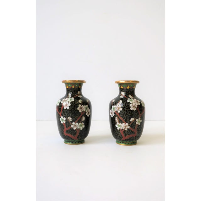 A pair of beautiful vintage gold brass and cloisonné enamel vases with black, ox blood/red burgundy and white cherry...