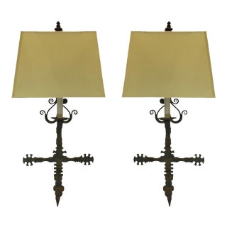 Wrought Iron Wall Lamps - a Pair For Sale