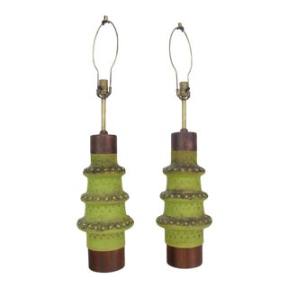 Pair of Hand Cast Ceramic Lamps by Alvino Bagni For Sale