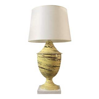 Italian Yellow Agateware Urn Form Pottery Lamp For Sale