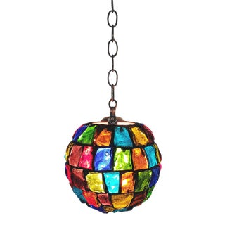 Mid-Century Nader Peter Marsh Moroccan Colorful Rock Glass Pendant Light For Sale