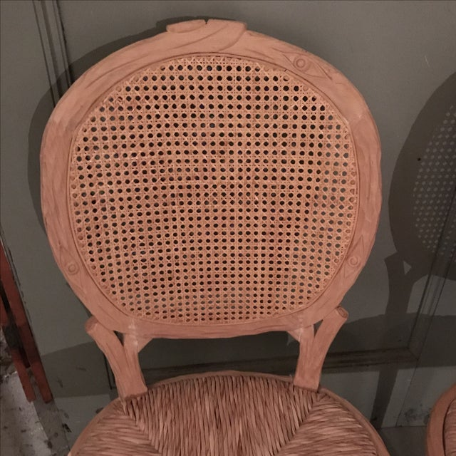 French Provincial Faux Bois Dining Chairs - Pair For Sale - Image 3 of 10