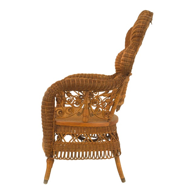 American Victorian Natural Wicker Arm Chair For Sale