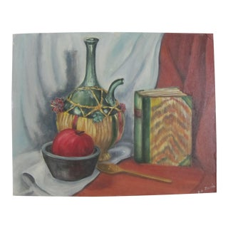 Vintage Still Life of Wine & Book Acrylic Painting For Sale