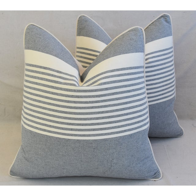 """French Gray & White Nautical Striped Feather/Down Pillows 22"""" Square - Pair For Sale - Image 11 of 12"""