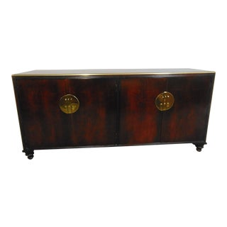 Baker Campaign Style Cherry Credenza For Sale