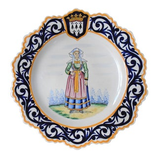 Henriot Quimper French Country Plate For Sale