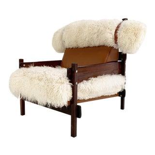 Sergio Rodrigues for Oca Solid Jacaranda Tonico Chair Restored in Gotland Sheepskin and Loro Piana Italian Buffalo Leather For Sale