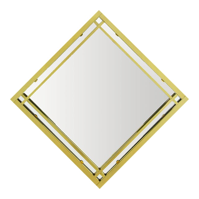 Brass Double Framed Mirror in the Style of Pierre Cardin For Sale
