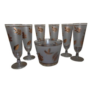 Vintage Libby Pilsner Glasses With Ice Bucket - Set of 7