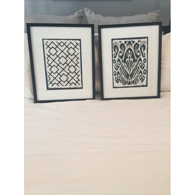 Framed Ikat Handmade Art - Pair of 2 - Image 3 of 10